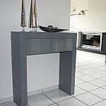 Wandtisch grau mit lackiertem Glas auf Schubladen